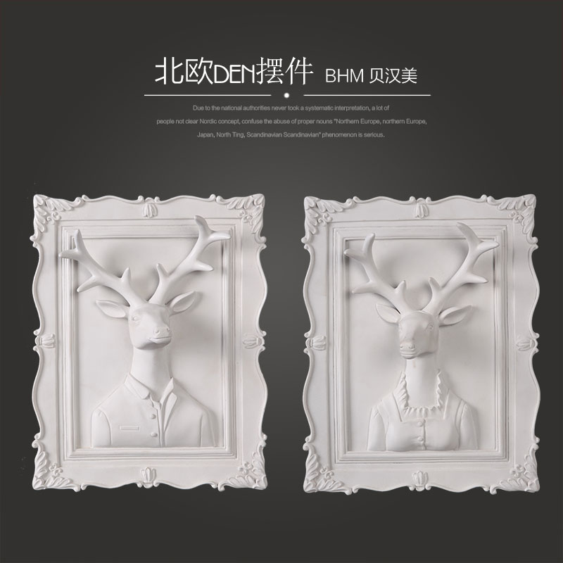 Resin white deer lady and gentleman square mirror pattern for wall decoration