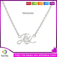 "Fashion Word ""Joy"" Pendant Necklace Silver Plating Chain Necklace For Kids TIN1552302"
