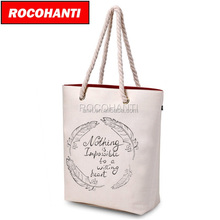 100PCS Custom White Canvas Rope handle Beach bag Canvas Beach Tote Bag 16 oz. F2112