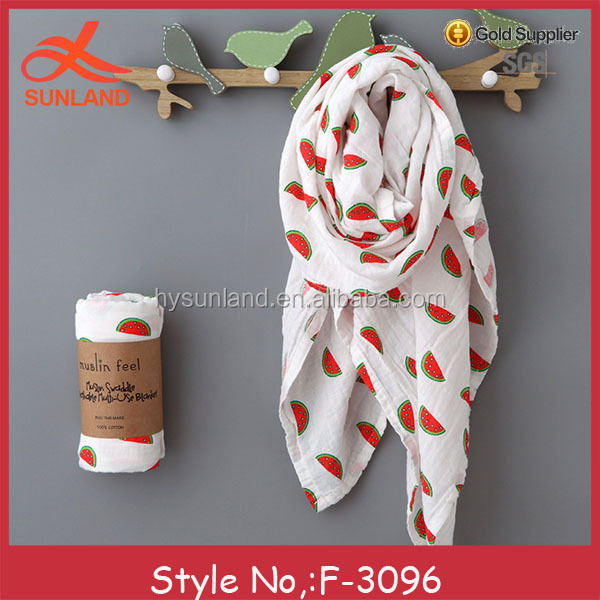 F-3096 new 2017 popular wholesale cotton baby muslin wraps bamboo organic swaddle blanket