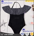 Women's fashion hot selling nylon spandex falbala one piece swimwear.