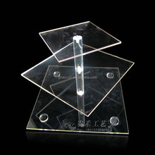 3-layer square cake stand with organic glass for wedding cupcake