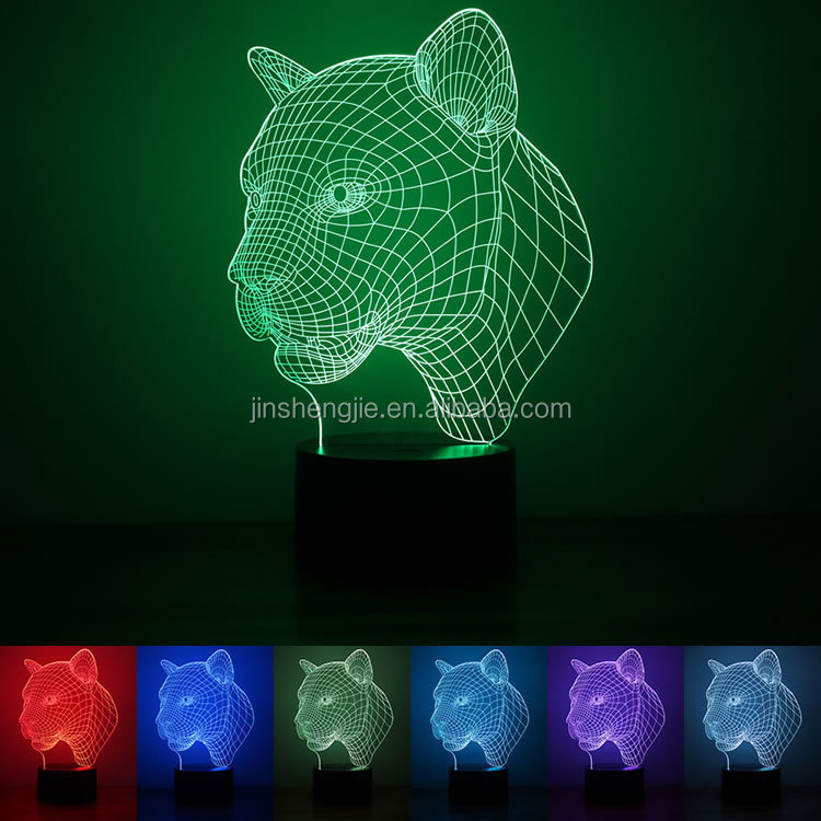 OEM ODM Custom Skull LED color changing USB battery powered 3D Illusion lamp night light