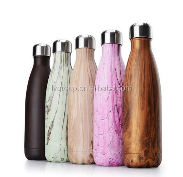 500ml personalized wood design double stainless steel water bottle,cola shape insluated vaccum thermol flask with leak proof lid