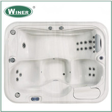 High quality freestanding hydro mini whirlpool bathtub 3 person hot and cold massage spa price balcony hot tub with cover