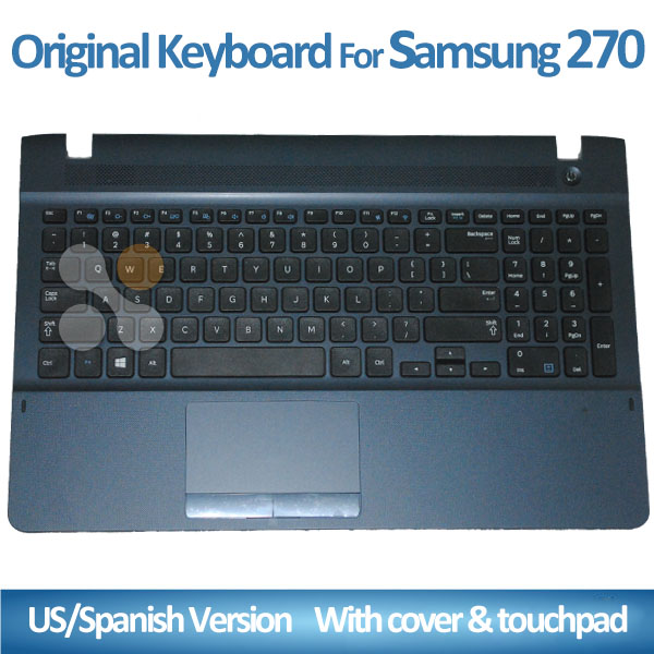 NEW Laptop Keyboard For Samsung NP270E5K 270E5K US Black with Touchpad+Cover laptop with spanish keyboard