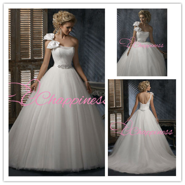 one shoulder tulle A line wedding dress 2013 new fashion