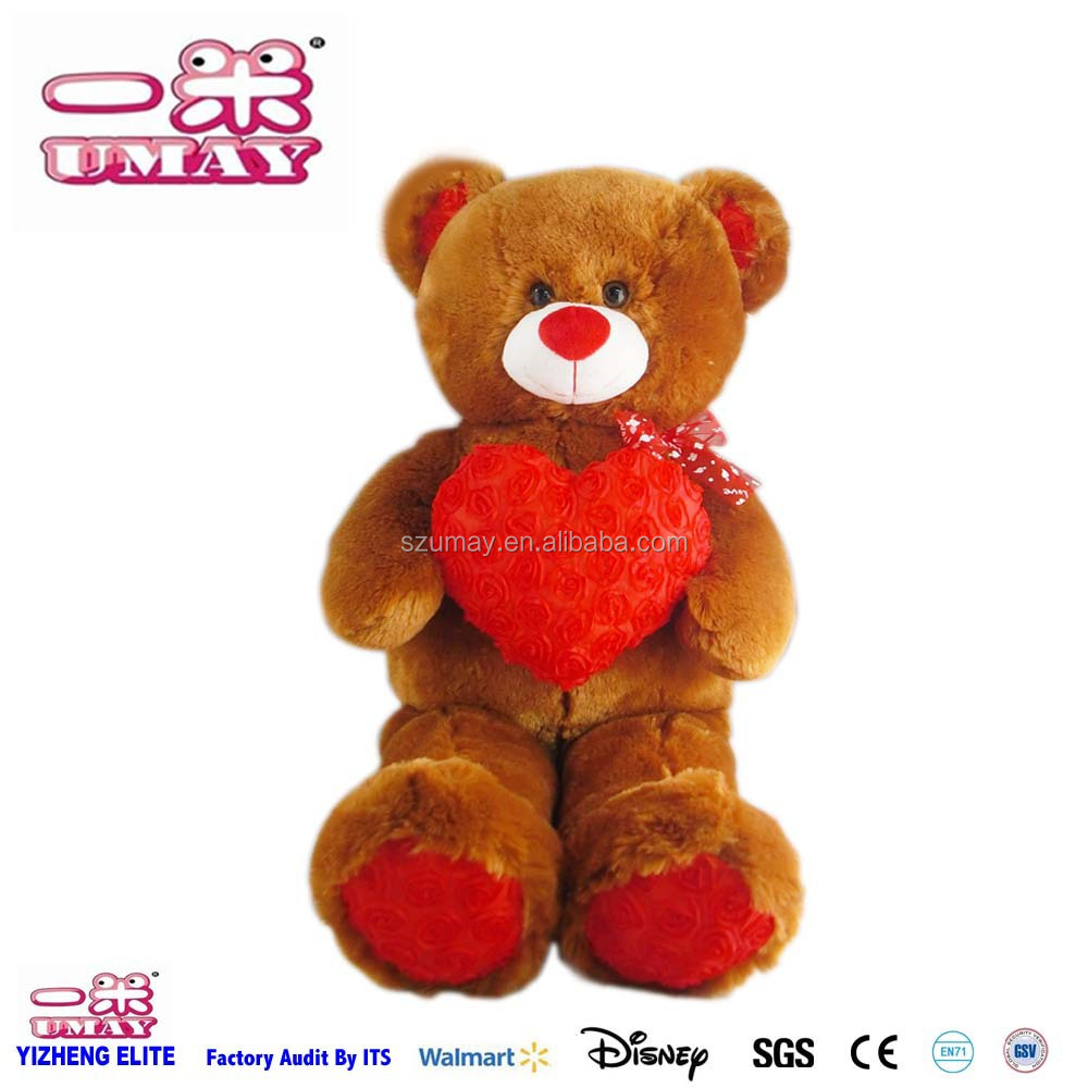 2017 New plush stuffed teddy bear plush toy with heart plush toy 0575 valentines day gifts