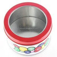 China dongguan round gift packaging box metal tin can candy holder pizza slice container