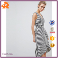 OEM high quality sleeveless women designer thick stripe wrap ruffle dress