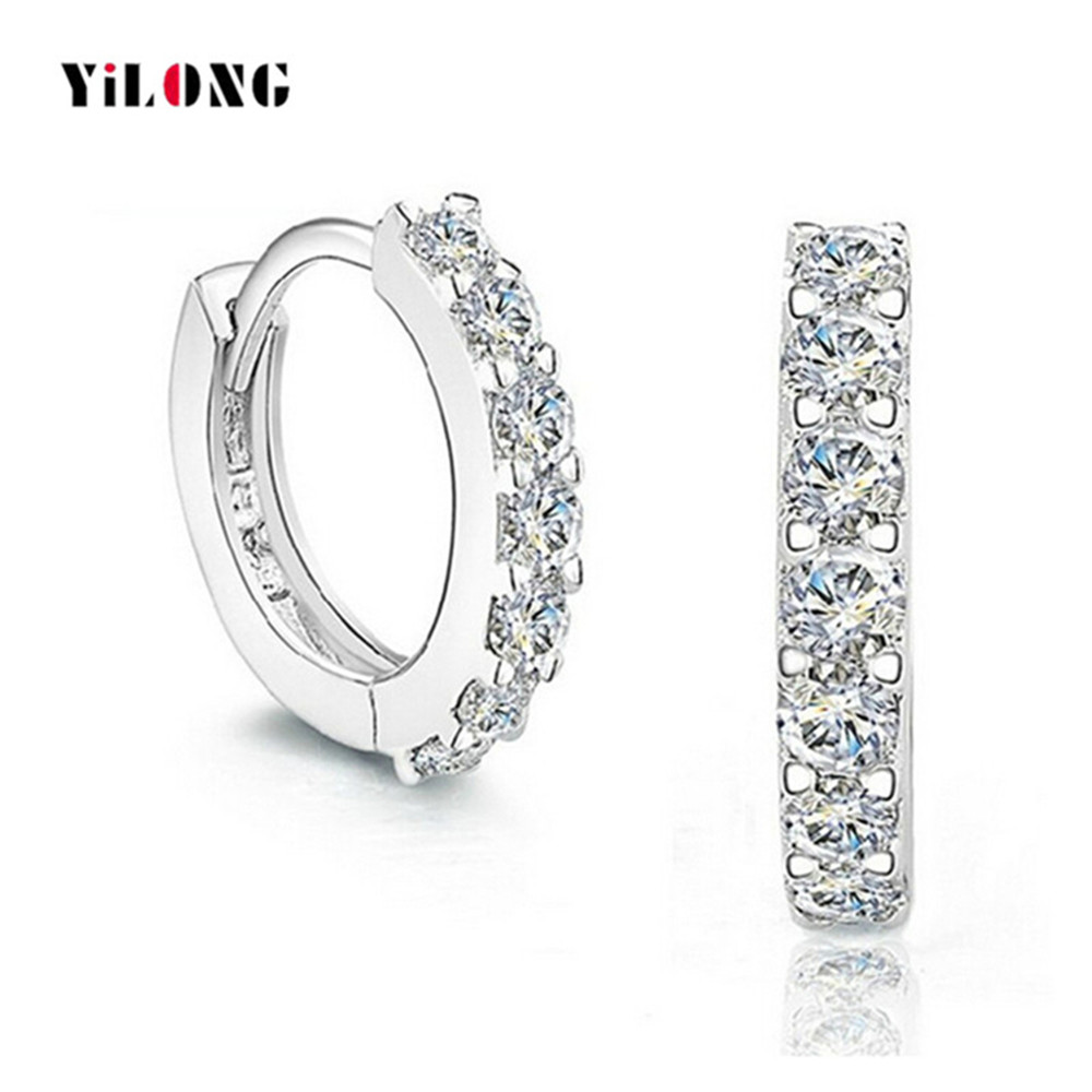 Popular Design Hand Setting Small 925 Sterling Silver AAA Quality CZ Hoop <strong>Earrings</strong>