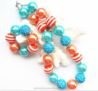 Multicolor candy bubble gum ball bead kids chunky necklace jewelry sets in bulk! 2sets/lot baby girls bracelet wholesale!