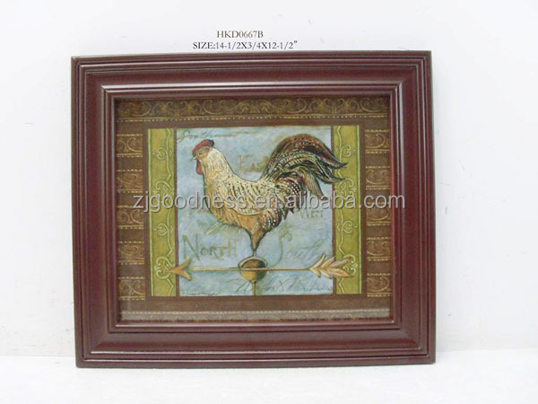 Rooster Framed Picture Red