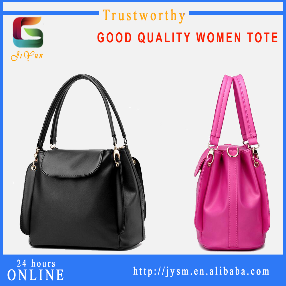 2016 New Design Hot Sale Black Simple Lady Leather Handbag Three Pouch Zipper YiWu Direct Sell Girl Shopping Handbag Tote
