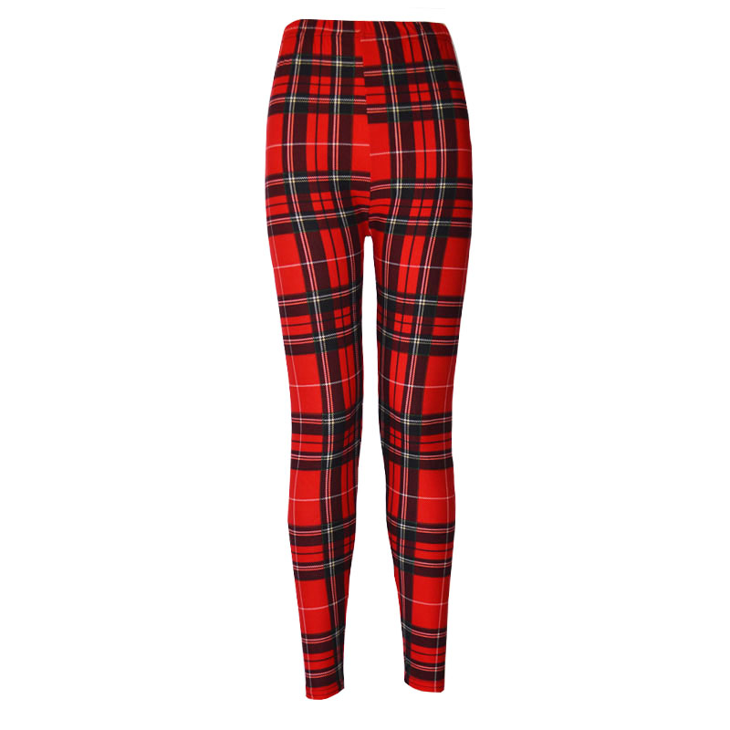 Ladies Leggings Print Milk Legins Plaid Thin Nine Pant Design Sports Women Clothing Trousers