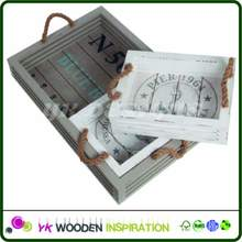 Wooden serving tray with metal handles for Home Decoration
