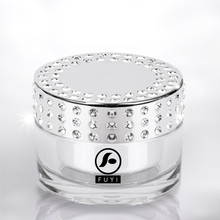 Luxury 50g Electroplated Bright Silver Cosmetics Diamond Cap Acrylic Jar In Stock