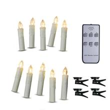 Battery Powered <strong>Remote</strong> Control LED Christmas Tree Taper Candles with <strong>Remote</strong> and Removable Clips for Weddings, Vigil and Menorah