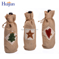 China excellent supplier promotional jute Christmas wine ribbon tie gift bags