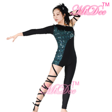 Sequins Jazz Feather Dance Costume For Ballroom Dance Dance Wear Bodysuit Rock Clothing