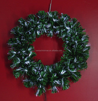 Green Leaf White Fiber Optic Christmas Wreath