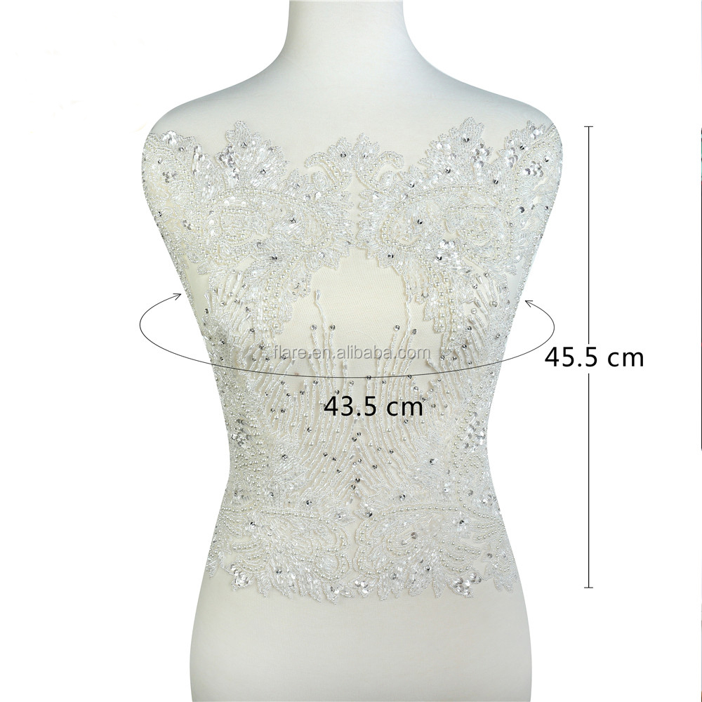 Rhinestone Fabric Beaded Applique Wedding Dress Applique Beaded lace Tulle Wedding Fabric Bridal full body rhinestone applique