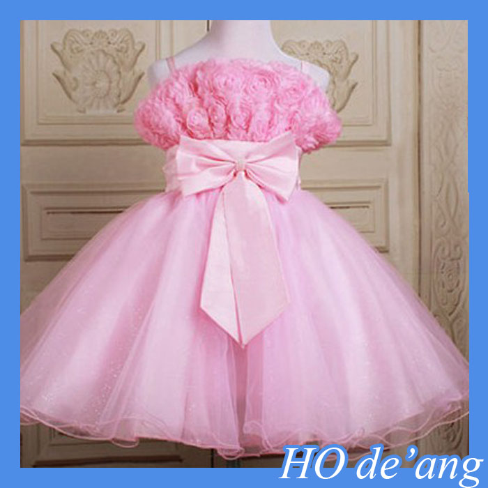 HOGIFT Girls Princess Baby Strap Flower dress Kids wedding Dress Size for 2-7 years