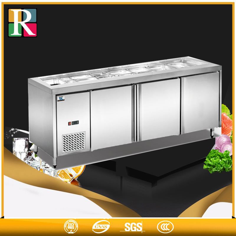 Three doors salad bar refrigerator sale big volunme working table refrigerators freezers commercial
