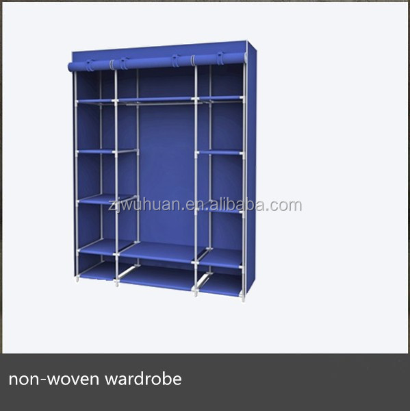 Metal portable wardrobe closet with non-woven fabric