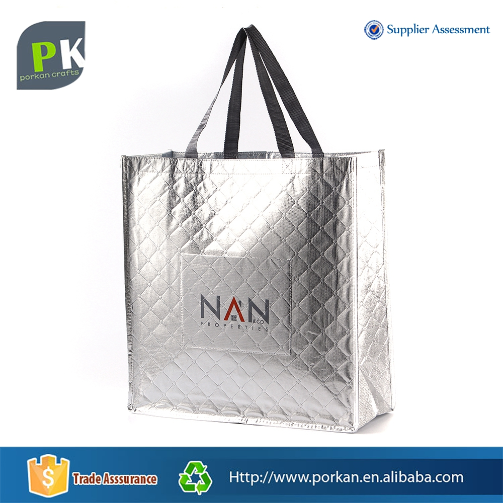 Foldable PP Image Non Woven Tote Bag with Foil Lamination