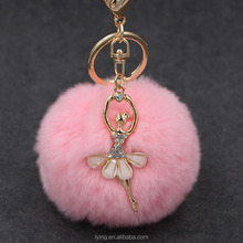 Creative cute crystal ballerina rabbit hair bulb key chain mobile phone chain