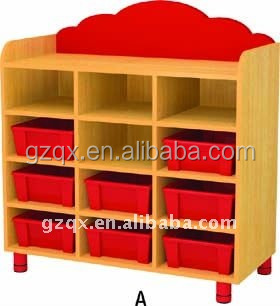 Multi-funs preschool furniture wooden cabinet