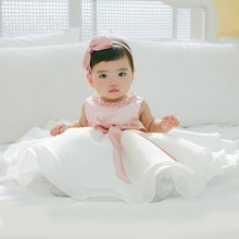 Lovely babies kids infant frocks design small girl birthday special party baptism dress with bowknot L1829xz