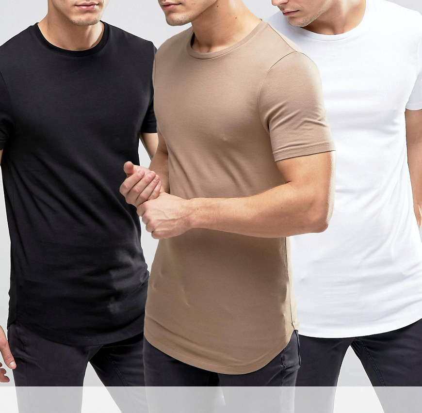 95 cotton 5 elastane t-shirt, longline t shirt, cheap bulk men t shirt with curved hem