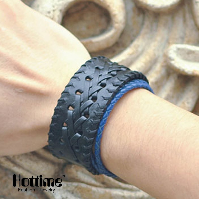 Hottime Wholesale Factory Stainless Steel Mens Leather Bracelet