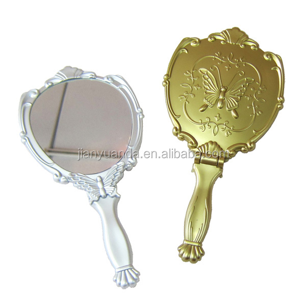 High quality Plastic Oval single sided handheld folding antique mirror with debossed butterfly