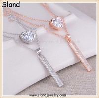 factory price wholesale Platinum/rose gold plated micro pave crystal/cz 925 silver bar necklace - layered necklaces jewellery