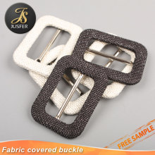 Wholesale custom fabric covered square metal coat belt buckles