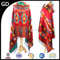 GDK0094 2015 Popular wholesale colorful new style handmade wool shawl woman hot sale jacquard tassel scarf