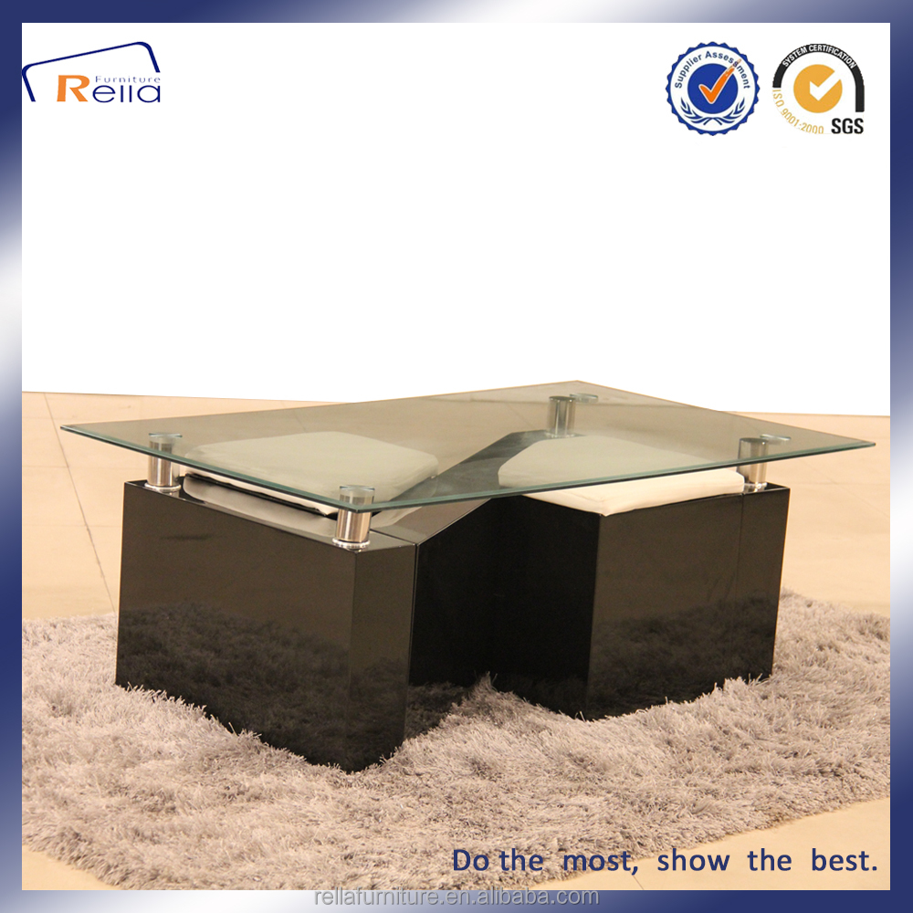 Glass Top Wooden Frame Coffee Table With Stool Design