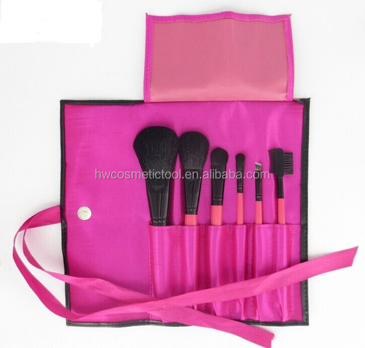 6pcs promotion makeup cosmetic brush kit with lovely bowknot pouch