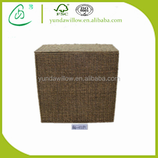 Sea Grass Linen Laundry Basket, Slim Retangular