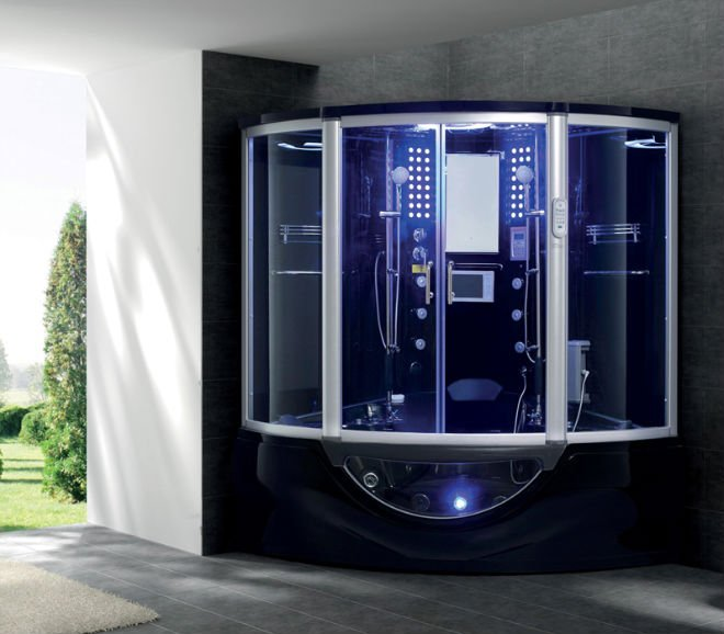 Steam shower room with spa bathtub with TV and MP3 G160I