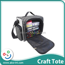 Polyester black check pattern hand carry craft tote bag for scrapbook storage