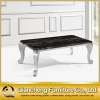 rectangle tempered glass coffee table of stainless frame