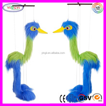 A234 Soft Blue Bird Long Fur String Puppet Plush Marionette Puppet