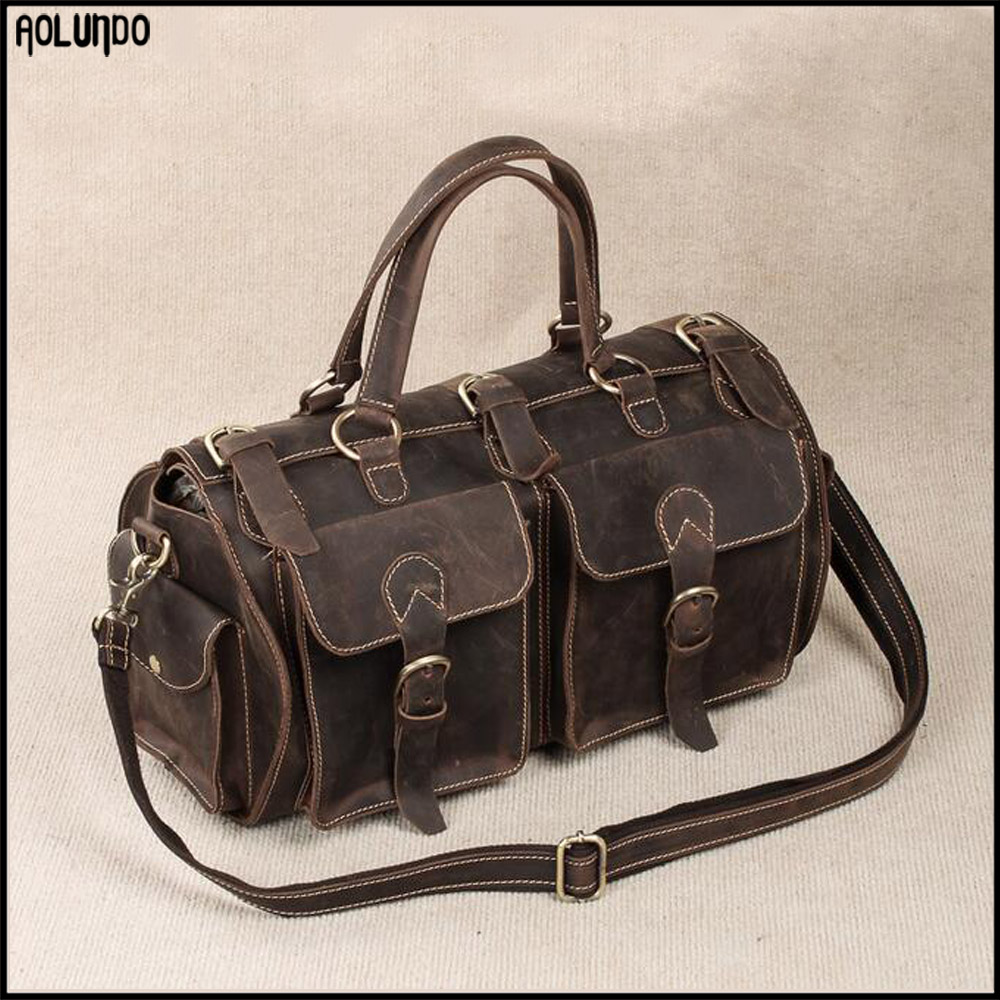 Wholesale customized mens fashion leather travel duffel bag for men