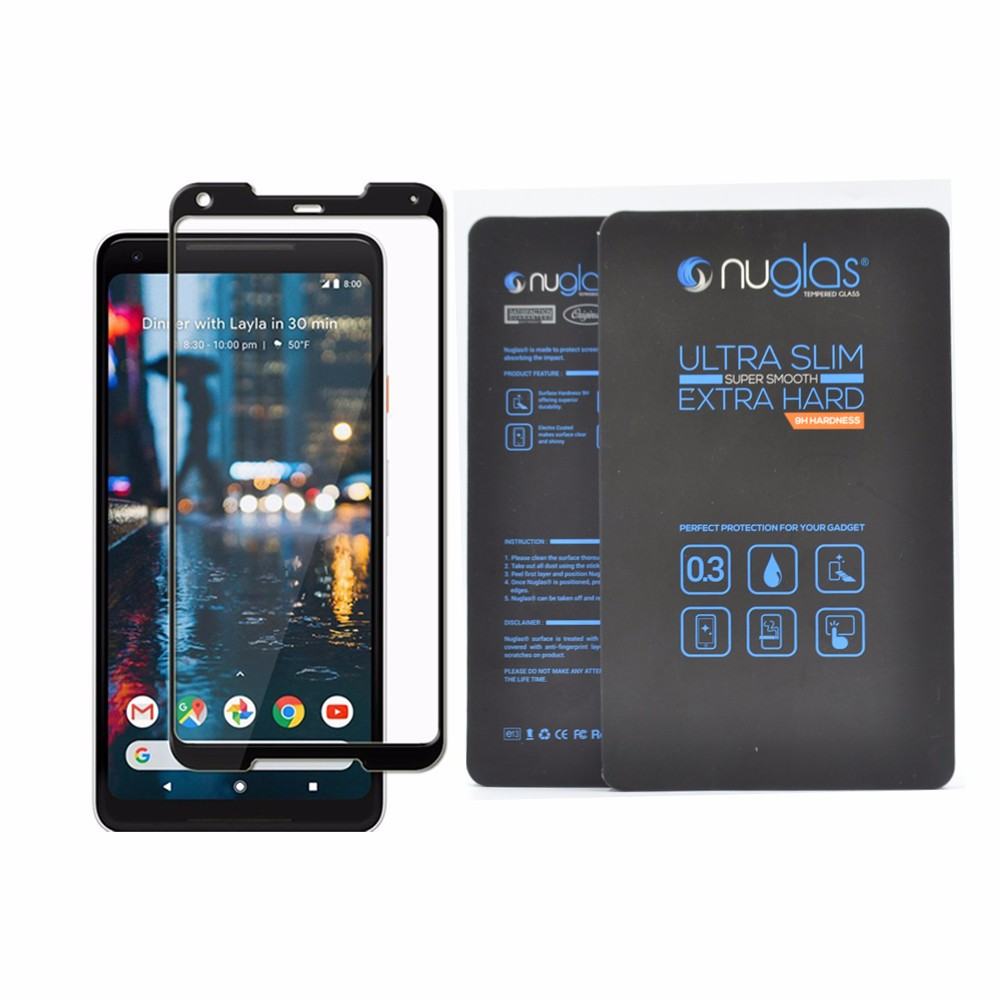 Wholesale price custom packaging 2.5D full cover tempered glass film screen protector for google pixel 2