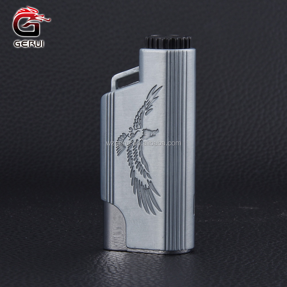 Engraved Pattern Triple Flame Space Gray Metal Butane Lighter Parts