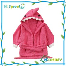 Peach Pink Shark Design Animal Baby Bathrobe